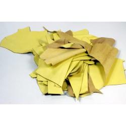 Retal de piel vacuno Amarillo Liso