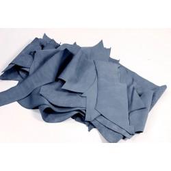 Retal de piel vacuno nobuck gris azulado